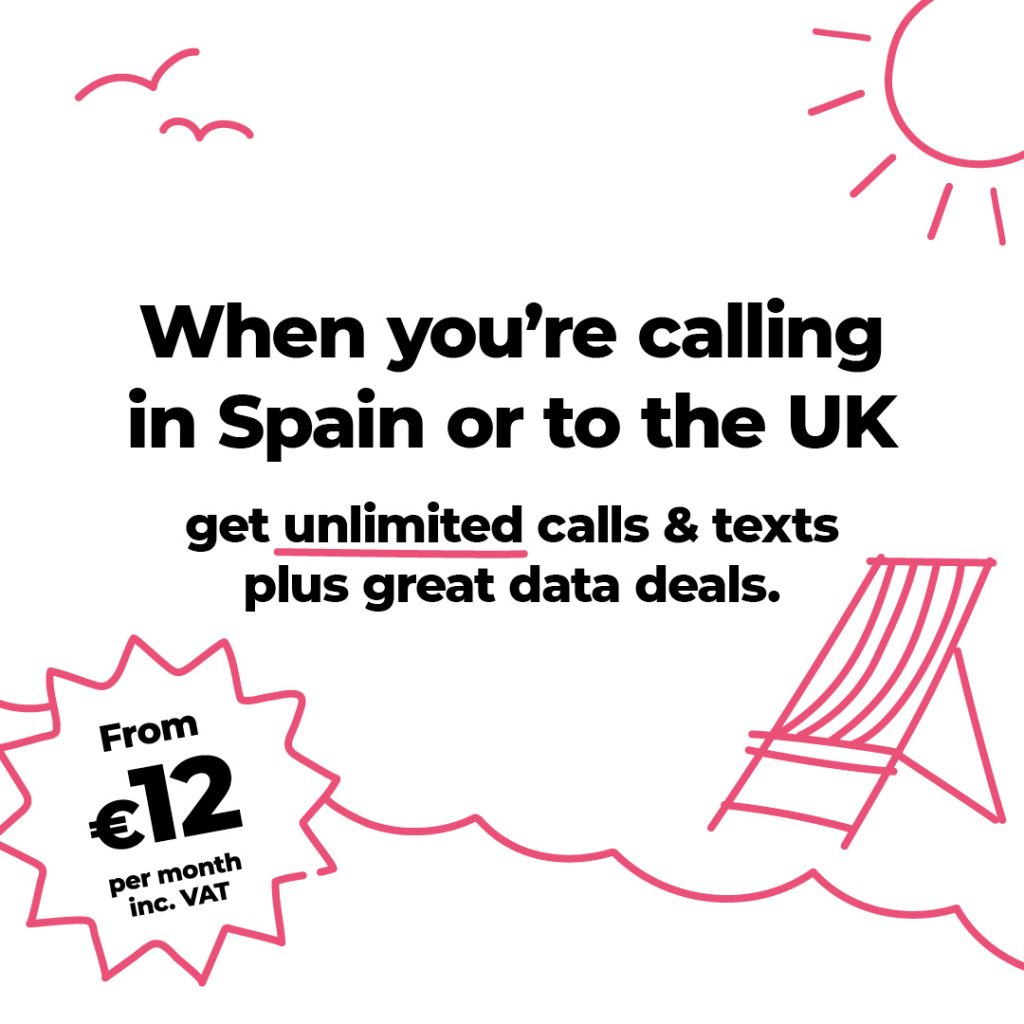 Unlimited calls and texts from 12€ per month